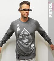 Pistol Boutique men's Dark Grey SKULLS ACE OF SPADES Raglan Sweatshirt Jumper