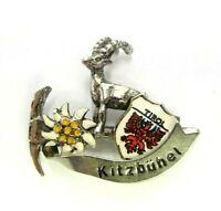 VINTAGE KITZBUHAL TIROL AUSTRIAN HAT LAPEL BROOCH PIN GOAT RAM PICK SILVER TONE