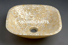 """12"""" River Shell Mother Of Pearl Square Wash Basin/Sink Bathroom kitchen Decor"""