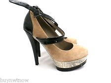 "Bakers Womens Shoes 5"" Stiletto Heel Suede Platform Snakeskin Ankle Strap 5.5M"