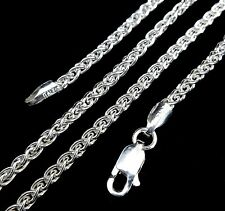 2.5MM Solid 925 Sterling Silver Italian SPIGA/WHEAT Rope CHAIN Necklace Italy