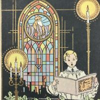 Vintage Art Deco Greeting Card Stained Glass Caroler Altar Boy Mid Century 1929
