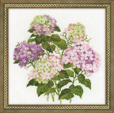 Riolis  1246  Fleurs Hortensias  Kit  Point de Croix  compté