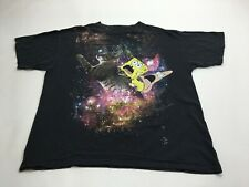 Nickelodeon Spongebob Squarepants & Patrick Black T-shirt Riding Cat In Space L