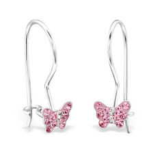 925 Sterling Silver Pink Crystal Butterfly Dangle Earrings Girls Boxed Pair (W20