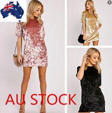 Lady Velvet Mini Dress Fashion Women Soft Shirt Dress Short Sleeve Blouse Tops