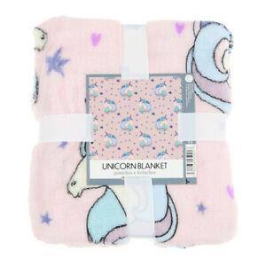 "Plush Unicorn Print Blanket Throw Blanket Couch Sofa Bed Soft Throw Pink 50x60"""