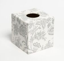 Silver Foliage Tissue Box Cover wooden handmade decoupaged in UK