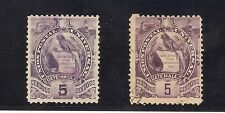 GUATEMALA-1886-  NATIONAL EMBLEM- 2 STAMPS OF 5 CENTS-Y&T nrs. 34 AND 47