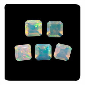 5 Pcs Natural Opal 7mm Faceted Square Cut Untreated Finest Quality Gemstones Lot