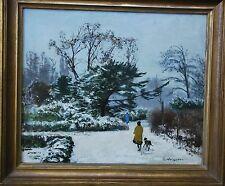 Weisgerber Carl *1891 Ahrweiler Neuenahr Spaziergänger mit Hund Winter im Park