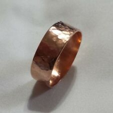 NEW Solid Copper Bright Hammered Band Ring sizes 6 - 13 Width 6mm, 8mm or 10mm