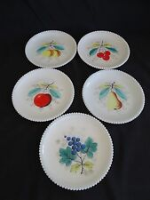 Westmoreland USA Beaded Edge 5 Salad / Pie Plates Various Fruit Designs