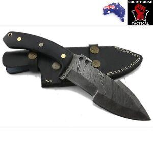 Handmade Hunting Tracker Knife, Damascus Blade, Micarta Handle, Leather Sheath