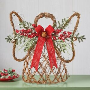Frosted Pine and Twig Holiday Christmas Angel Tabletop Centerpiece