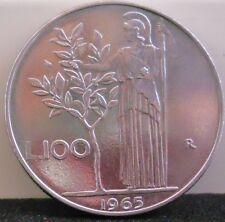 Moneta Repubblica ITALIANA - 100 LIRE MINERVA 1965 - Ottima  11/16