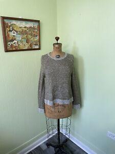 Eileen Fisher Oversized Marled Green Sweater Organic Linen/Cotton Blend Size XS
