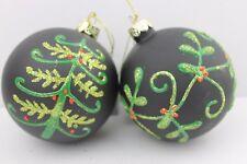 Gisela Graham Navidad negro mate cristal bola con árbol Muérdago Bola x 2
