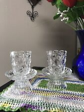 Two PartyLite Tea Light Votive Pillar Taper Candle Holders Crystal Quilted P9246