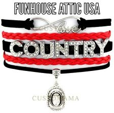 LOVE Country Rhinestone Infinity Jewelry Hat Bracelet Charm Bling Red Black