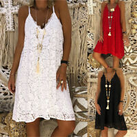 ZANZEA 8-24 Women Strappy Mini Sundress Club Party Beach Sexy Crochet Lace Dress