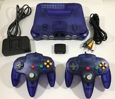 GRAPE / Midnight Nintendo 64 N64 System Console Bundle + 2 NEW Controllers Clean