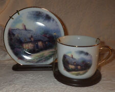 "Thomas Kinkade Collector Plate and Cup with Display ""Moonlight Cottage"""