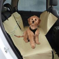 Luxury Dog Car Seat Cover Waterproof Hammock For Cat Pet Back Rear Bench Khaki