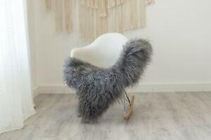 Real Sheepskin Rug Chair Cover Sheepskin Throw Sheep Skin Gray #ebicel19
