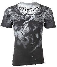 AFFLICTION Mens T-Shirt UPWARD Angel Wings GREY Tattoo Biker MMA UFC Jeans $63