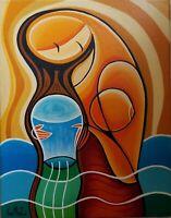 Javier Martinez Aquarius Acrylic on Canvas 14X11 Cuban Art