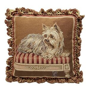 """Yorkie Terrier Dog Wool Needlepoint Tassel Accent Pillow Old World Look 17""""x17"""""""