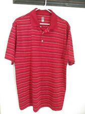 Men's PGA Tour Striped Golf Polo Shirt 100% Polyester Size L EUC