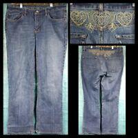Express Womens Blue Medium Wash Hearts Back Design Pockets Sz 10