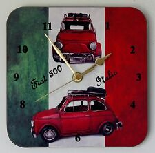 Square Wall Clock – Fiat 500 Classic Car on Italian Flag - Size 19cm by 19cm