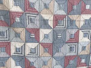 Vintage Americana Ralph Lauren 100% Cotton Mini Stripes Patchwork Quilt