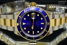 MEN'S ROLEX SUBMARINER 2 TONE 18K GOLD&S.STEEL 16613 BLUE DIAL 40MM WATCH.