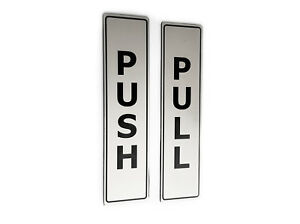 PUSH & PULL Adhesive SILVER Door Signs - for business, restaurants, bars, hotels