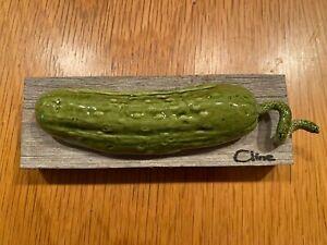 Original Carol Cline Ceramic Hand Sculpted Pickle (small cucumber) Vegetable NEW