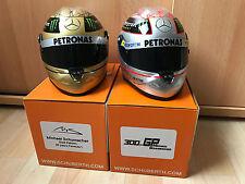 M. schumacher spa 2012 & 2011 platino & Gold Schuberth f1 casco Helmet 1:2 ** New **