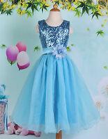 Blue Angle Flower Girls Party/Bridesmaid/Princess/Prom/Wedding/ Dress Age 7-12 Y