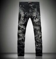 Mens Dragon printed Denim Jeans Floral Stretchy Long Pants Trousers Casual Slim