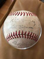 1956 Cleveland Indians Team Stamp Signed Baseball Lemom Wynn Feller Lopez Score