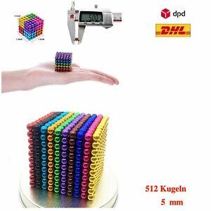 512 Stk. 5mm Kugelmagnet  Magnetische Kugeln Neodym Blöcke 8 Farben + METAL BOX