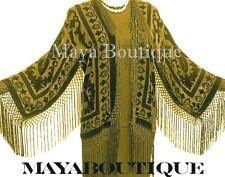Olive Green Silk Burnout Velvet Fringe Jacket Short Kimono Maya Matazaro