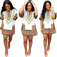 Women Short Sleeve Mini Dress Casual Straight Loose African Print FREE SHIPPING