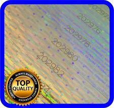 510 Hologramm Etiketten mit Seriennummern, Siegel, Garantie, Aufkleber 75x10mm