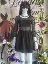 Women's round neck solid black lace dress ( pre-loved)