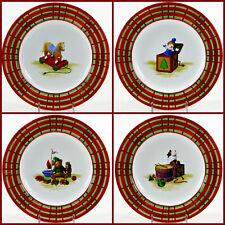 "Oneida Sakura CHRISTMAS MORNING 8"" Salad Dessert Plate Set 4Pc Tartan Plaid Trim"