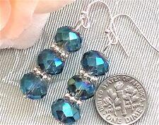 """Blue Green Crystal Silver tone Earrings 1.9"""" Long  Oceana Jewellery"""